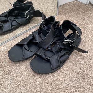 All Saints Rozen Black Leather Wrap Sandals Sz 40